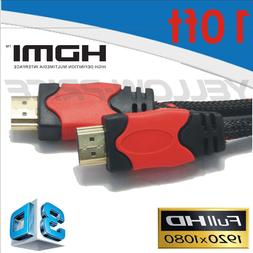 1-4 Pack 10FT Braided HDMI Cable V1.4 w/Ethernet 3D 4K For D