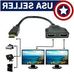 1080P HDMI Port Male to 2 Female 1 In 2 Out Splitter Cable C