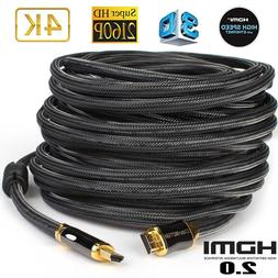 4K HDMI 2.0 Cable 50FT UHD 18GBPs High Speed Ultra HD 60Hz H