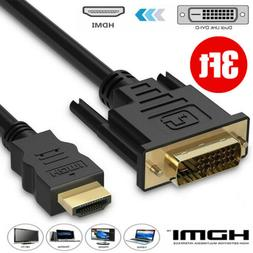 3 FT HDMI to DVI-D 24+1 Pin Monitor Display Adapter Cable Ma