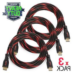3 Pack High Speed 4K HDMI Cables - Multiple Lengths