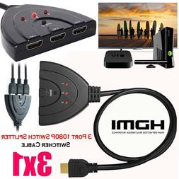 3 Hdmi Port Switch Switcher Splitter Cable Selector HUB Box