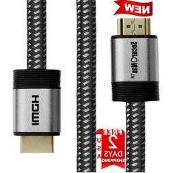 4K HDR HDMI Cable 15ft - High Speed 4K Ultra HD Braided Cord