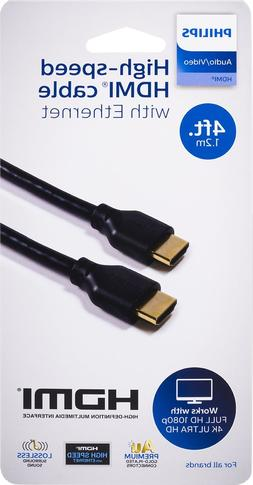 Philips 4K High-Speed HDMI Ethernet Cable 4ft Supports 4K Ul