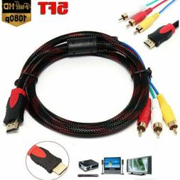 5ft Braided HDMI Male to 3RCA Male A/V Extension Convert Com