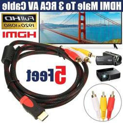 5Ft HDMI Male to 3 RCA Video Audio Cord Component AV Adapter