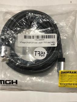 HDMI Cable 15 FT - Braided Cord - 4K HDMI 2.0 Ready - High S