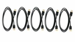 C&E 5 Pack Ultra Slim Series High Performance HDMI Cable wit