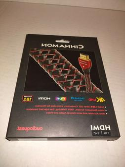 AudioQuest Cinnamon 1m  Black/Red HDMI Cable, Black; Red