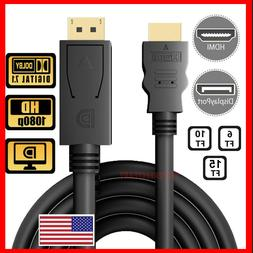 Display Port DP to HDMI Cable Adapter Converter Audio Video