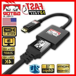 Display Port to HDMI Adapter Cable Audio Video PC Monitor 4K