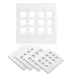 Cable Matters  12-Port Double Gang Wall Plate for Keystone J