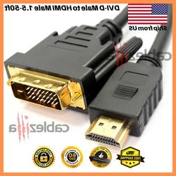 DVI-D Male to HDMI Male Cable Gold 24+1 HDTV PC 1.5ft 3ft 6f