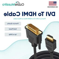 DVI-D To HDMI Male To Male Cable Gold 24+1 HDTV PC Display W