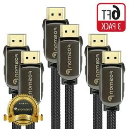 HDMI Cable 6FT  Fosmon CL3 Rated  4K Latest Standard 2.0 UL