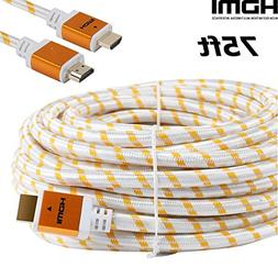 CableVantage HDMI 75ft Cable Cord with Ethernet Gold Plated