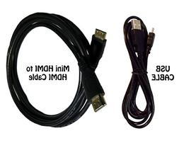 HDMI Cable for Canon EOS SL2 DSLR Camera + USB Cable - High-