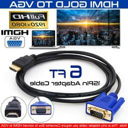 HDMI Gold Male To VGA HD-15 Male 15Pin Adapter Cable 5FT 1.5