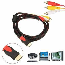HDMI Male to 3 RCA Video Audio AV Cable Adapter For 1080P HD