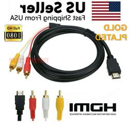 HDMI Male To 3 RCA Video Audio AV Component Converter Adapte