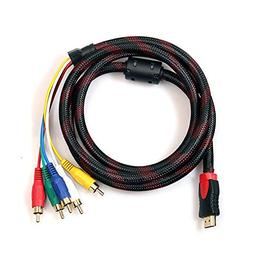 Alotm HDMI to RCA Cable, 5 Feet 1.5m HDMI Male to 5-RCA Male