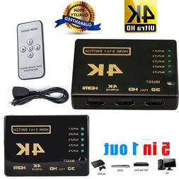 HDMI Switch Splitter Box Hub Full HD 1080p Cable Selector wi