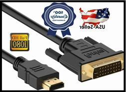HDMI to DVI-D 24+1 Pin Monitor Display Cable Adapter Male to