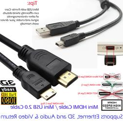 HDMI to Mini HDMI Type C Video Cable+USB 2.0 A To Mini 5 Pin