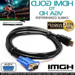 HDMI to VGA GOLD 15 Pin Full HD 6FT Video Adapter Cable For