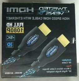 Twisted Veins High Speed HDMI 50' Lg Cable Cord with Etherne