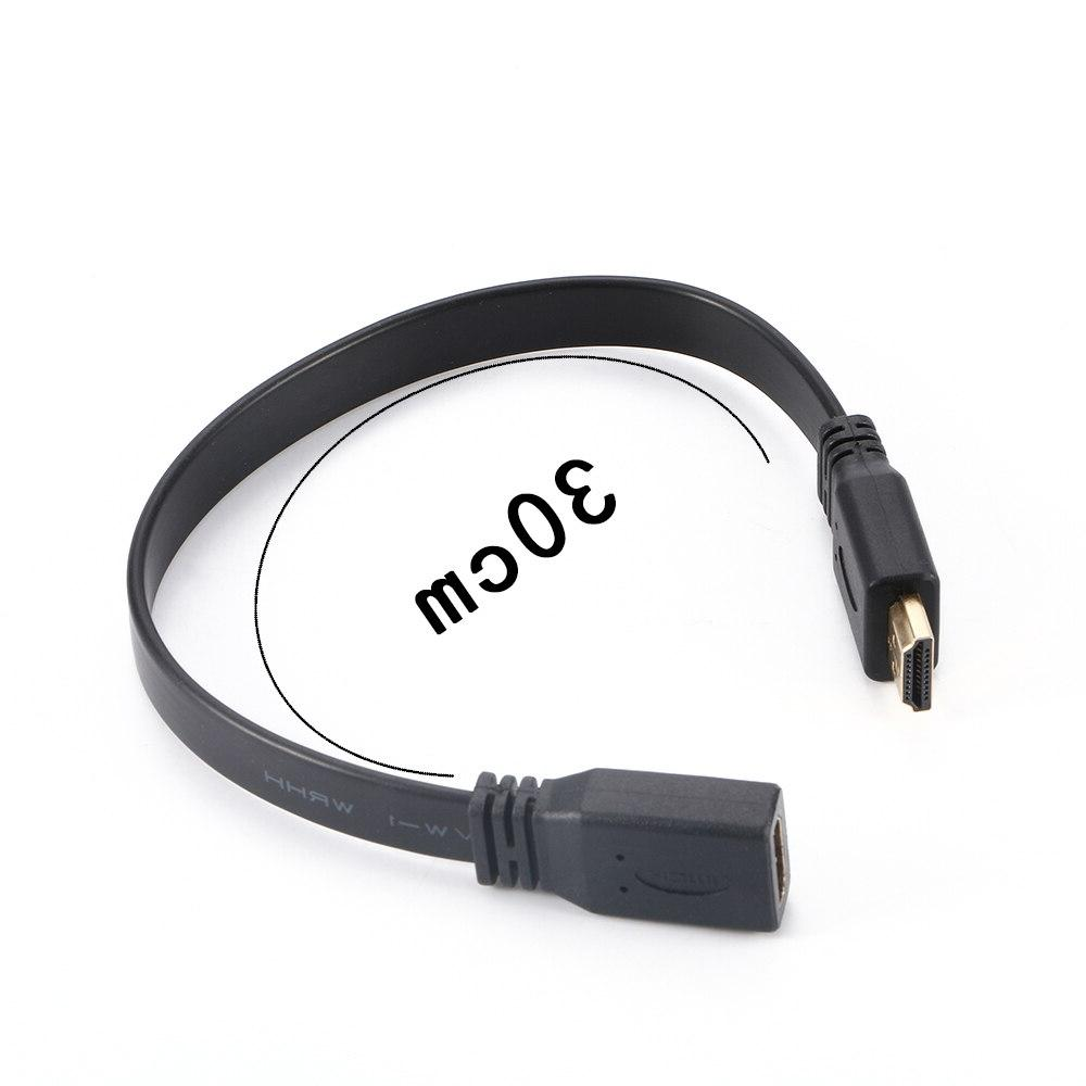 1Pcs Quality 30cm Short Flat <font><b>HDMI</b></font> Lead Female Socket Plug Audio <font><b>Cable</b></font>