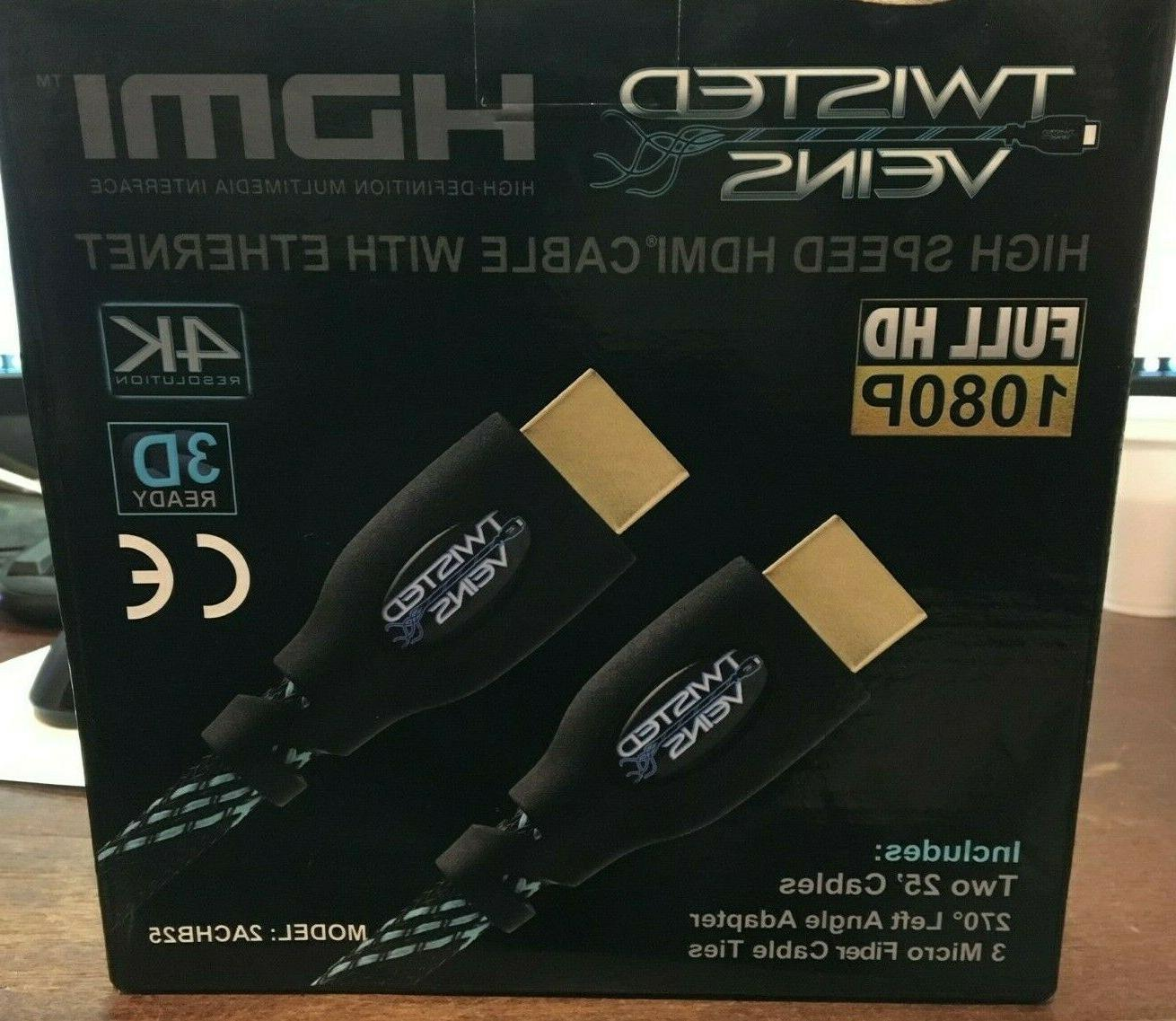 2 pack 25 ft high speed hdmi
