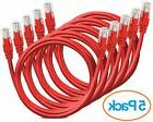 Aurum CAT6 Snagless 20 FT Red 5 Pack  Network Ethernet Patch