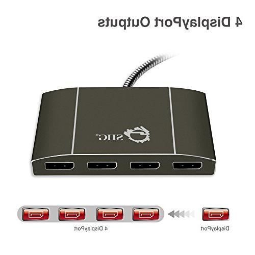 SIIG 4 Port DisplayPort to DisplayPort Hub 4k DP to Monitor Splitter Multi-Stream Transport - HD to @30Hz , Mirror, Video Wall