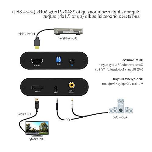 SIIG DisplayPort Converter 4K@60Hz 4:4:4 HDMI to DP, 18Gbps | HDCP 2.2 | EDID, Audio Extraction to Firmware | 1080p for Monitors