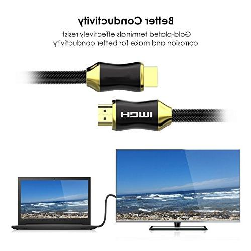 Lstiaq HDMI 25AWG 4K HDMI Support Ethernet -Golden Plated Connector-Audio 4K 2160p,3D,HD 1080P-Xbox PS3 PS4