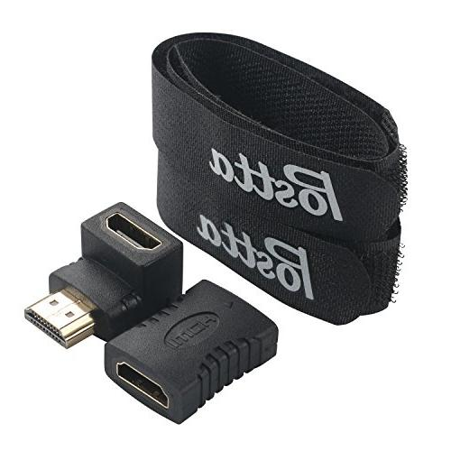HDMI with Built-in HDMI Cable 2 Cable Ties+2 Piece HDMI Adapters 3D,1080P,Ethernet,Audio Return HD