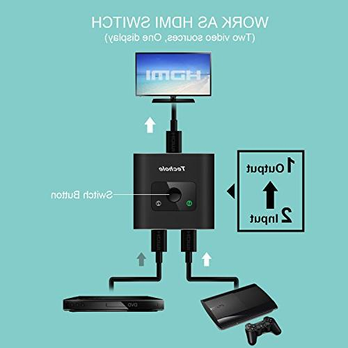 HDMI Splitter Techole Aluminum Bi-Directional Switcher In 2 Out or 2 No Supports 1080P for Xbox PS4 Roku