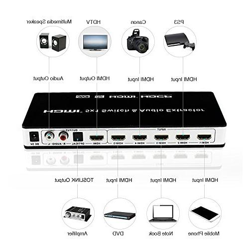 HDMI Switch Audio Extractor 4K 5 Switcher 5x1 with Remote Control and Full