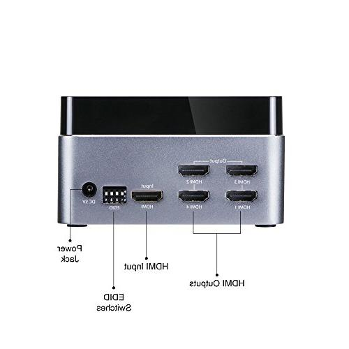 SIIG Premium 1x4 HDMI Splitter 60HZ with - HDMI HDCP 2.2 Housing - 3D, UHD port, in and 4