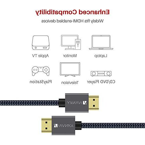 High Speed HDMI Cable, 4K 6.6 ft HDMI 2.0 Cable 18Gbps, 4K 3D, 2160P, - Braided 30AWG, Audio UHD PS4, PS3, PC