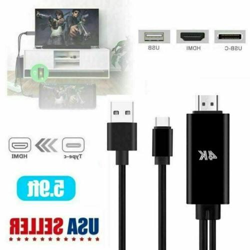 For Samsung Galaxy S10 S9 S8 Note9 Type-C USB-C to HDMI w/Ch