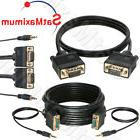 VGA Cable SVGA Super Video Cord Male 15 PIN w/without 3.5 Au