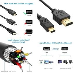 Rankie Micro HDMI to HDMI Cable Supports Ethernet 3D 4K and