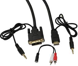 MyCableMart 6ft HDMI/DVI-D w/3.5mm AUDIO Cable High Performa