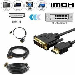 New HDMI to DVI-D 24+1 Pin Monitor Display Adapter Cable Mal