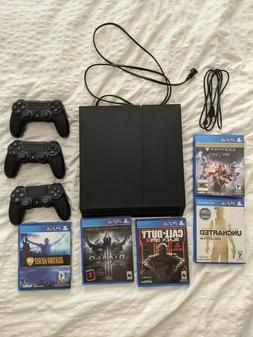 PlayStation PS4 Console 500 GB CUH-1215a, 3 controllers, cab
