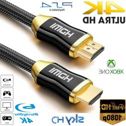 PREMIUM 4K HDMI CABLE 2.0 HIGH SPEED GOLD PLATED BRAIDED LEA