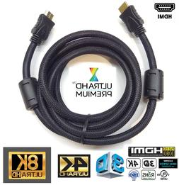 Premium HDMI Cable 6FT, 24K Gold Plated, Braided 1080P 4K 8K