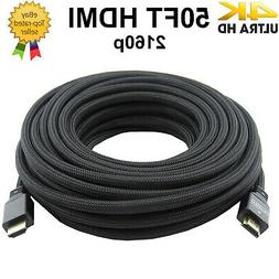 PREMIUM HDMI CABLE 50Ft 1.4 1080P BLURAY 3D TV DVD PS4 XBOX